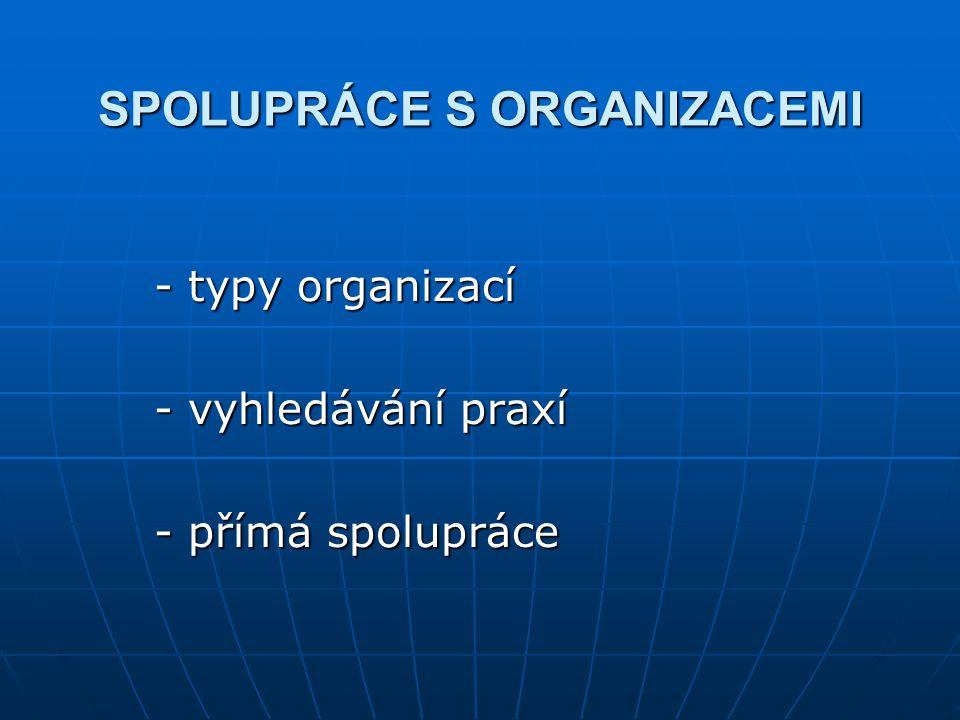 SPOLUPRÁCE S ORGANIZACEMI - typy organizací - vyhledávání praxí - přímá spolupráce