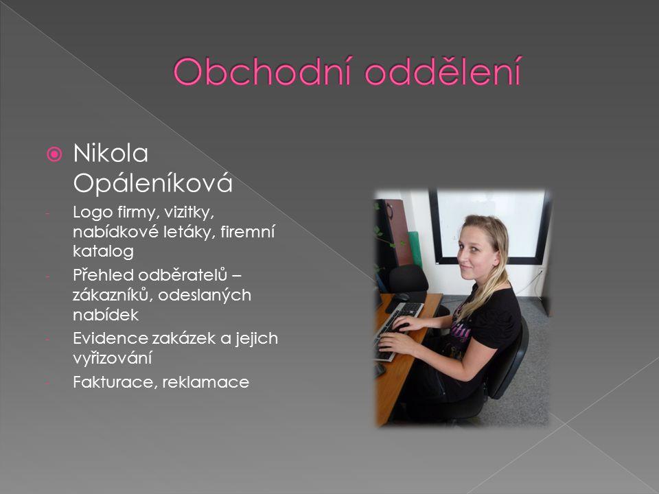  Nikola Opáleníková - Logo firmy, vizitky, nabídkové letáky, firemní katalog - Přehled odběratelů – zákazníků, odeslaných nabídek - Evidence zakázek