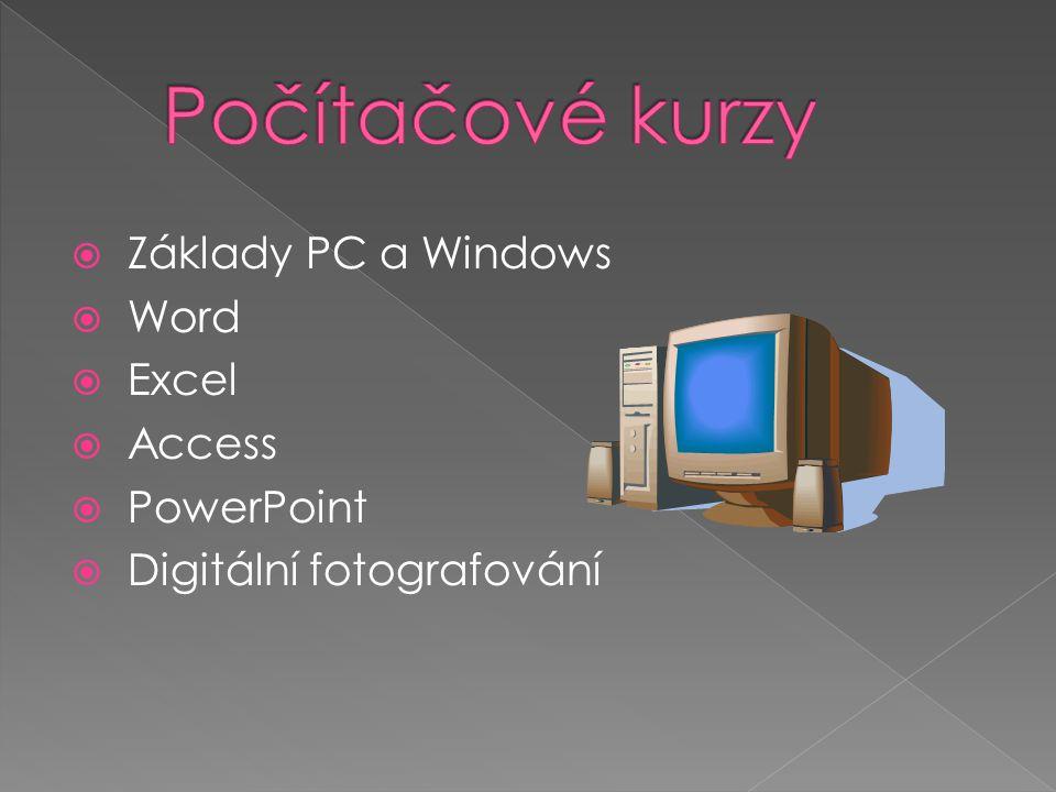  Základy PC a Windows  Word  Excel  Access  PowerPoint  Digitální fotografování