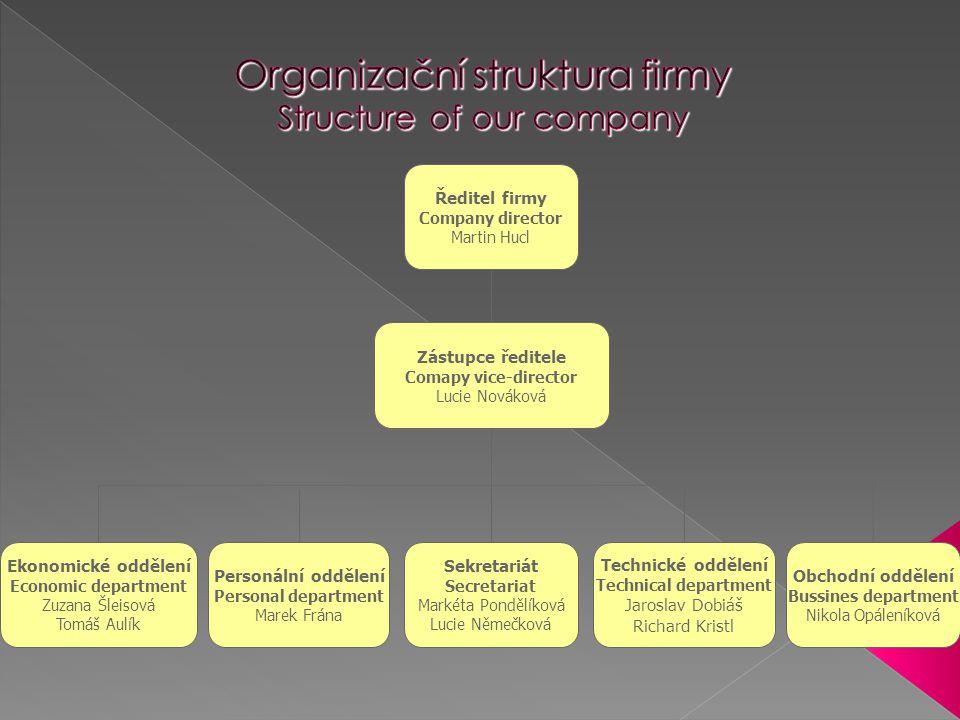  Ředitel firmy – Jaroslav Dobiáš - Zodpovídá za celkový chod firmy - Zastupuje firmu navenek - Zajišťuje styk s CEFIF - Schvaluje účetní doklady - Rozděluje úkoly jednotlivým oddělením, kontroluje jejich plnění