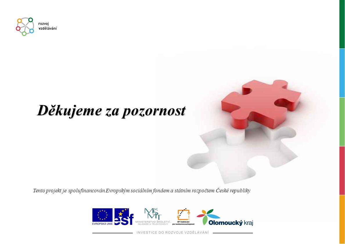 Děkujeme za pozornost Tento projekt je spolufinancován Evropským sociálním fondem a státním rozpočtem České republiky