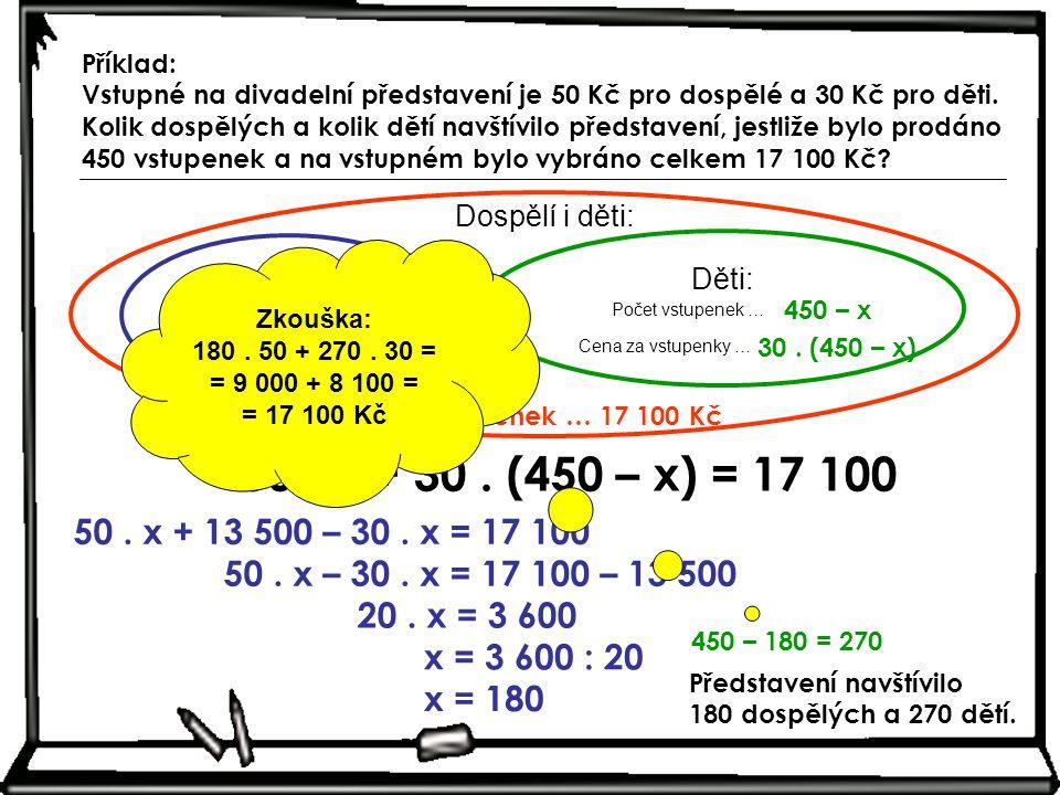 Dospělí: Počet vstupenek … Cena za vstupenky … x 50. x Dospělí i děti: Děti: Počet vstupenek … Cena za vstupenky … 450 – x 30. (450 – x) 450 vstupenek