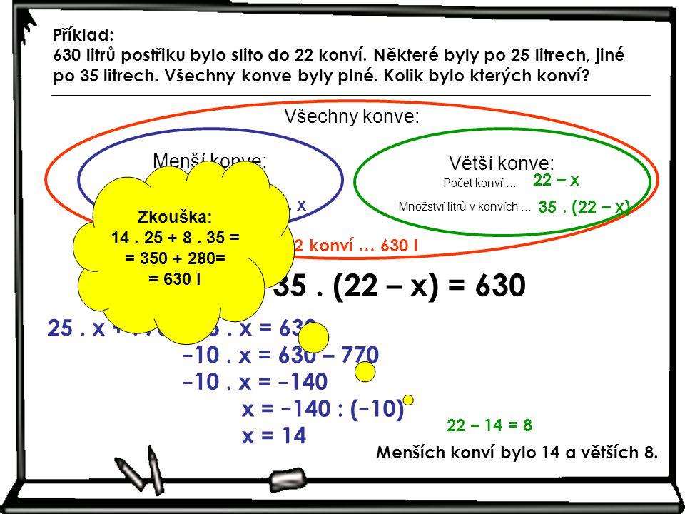 Menší konve: Počet konví … Množství litrů v konvích … x 25. x Všechny konve: Větší konve: Počet konví … Množství litrů v konvích … 22 – x 35. (22 – x)