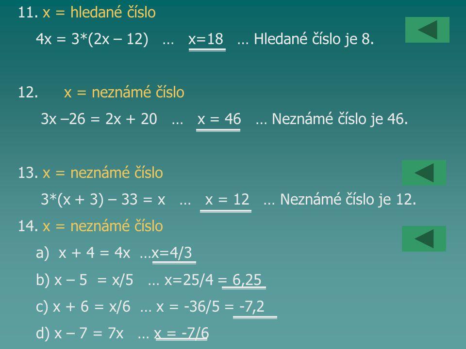 11. x = hledané číslo 4x = 3*(2x – 12) … x=18 … Hledané číslo je 8. 12. x = neznámé číslo 3x –26 = 2x + 20 … x = 46 … Neznámé číslo je 46. 13. x = nez