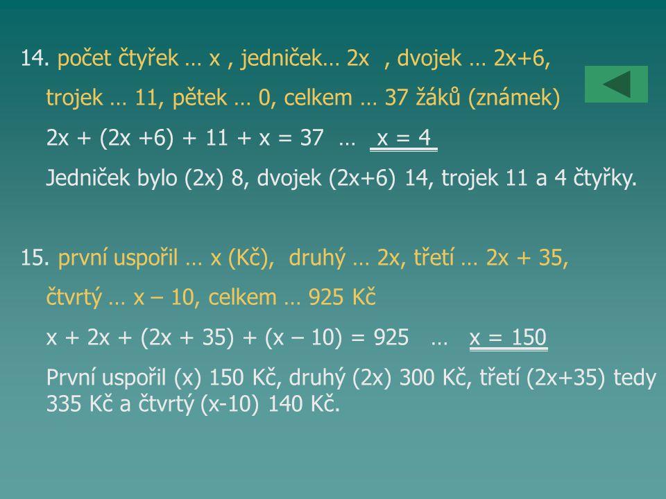 14. počet čtyřek … x, jedniček… 2x, dvojek … 2x+6, trojek … 11, pětek … 0, celkem … 37 žáků (známek) 2x + (2x +6) + 11 + x = 37 … x = 4 Jedniček bylo