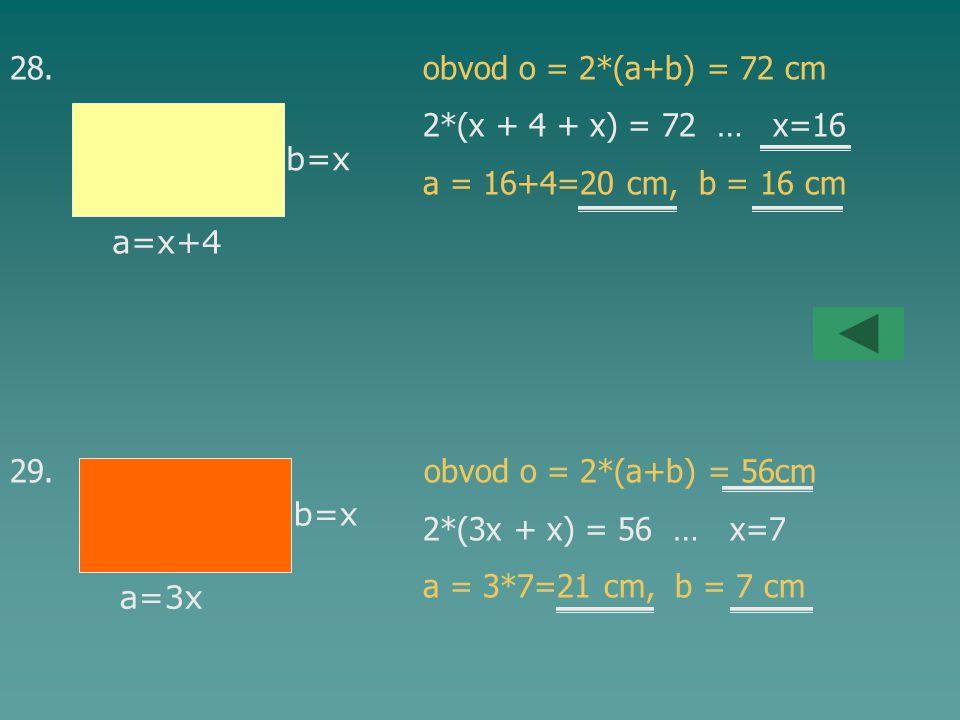 28. obvod o = 2*(a+b) = 72 cm 2*(x + 4 + x) = 72 … x=16 a = 16+4=20 cm, b = 16 cm 29. obvod o = 2*(a+b) = 56cm 2*(3x + x) = 56 … x=7 a = 3*7=21 cm, b