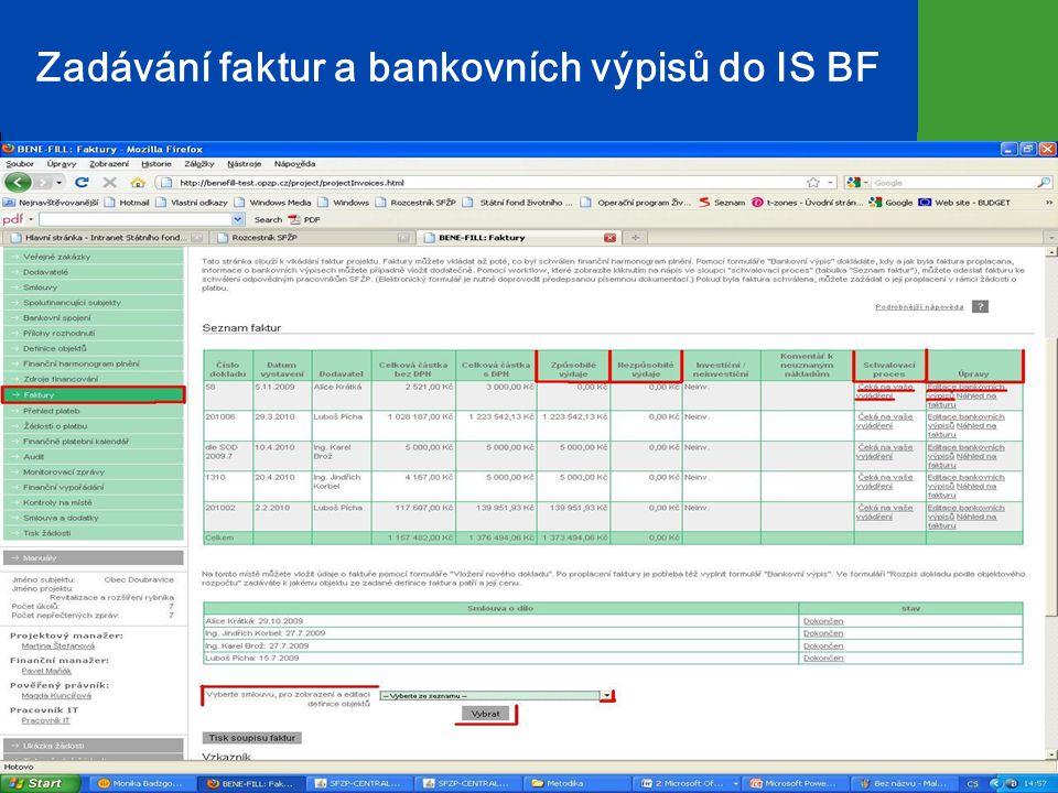 Zadávání faktur a bankovních výpisů do IS BF 16