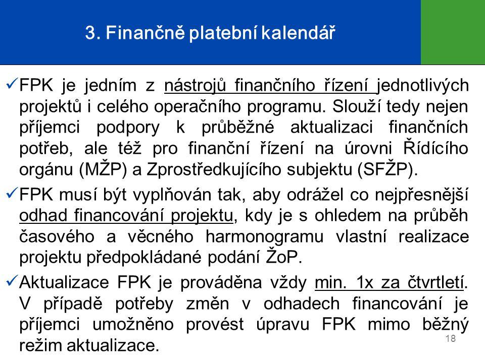 3. Finančně platební kalendář  FPK je jedním z nástrojů finančního řízení jednotlivých projektů i celého operačního programu. Slouží tedy nejen příje