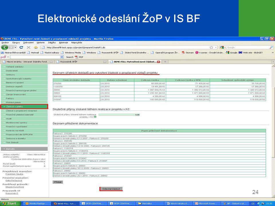 Elektronické odeslání ŽoP v IS BF 24