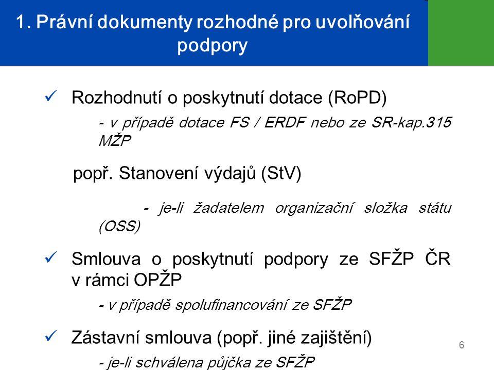 1. Právní dokumenty rozhodné pro uvolňování podpory  Rozhodnutí o poskytnutí dotace (RoPD) - v případě dotace FS / ERDF nebo ze SR-kap.315 MŽP popř.