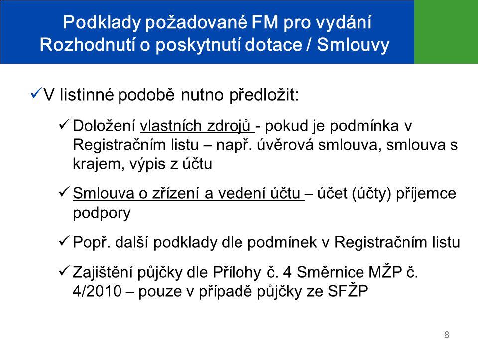 Podklady požadované FM pro vydání Rozhodnutí o poskytnutí dotace / Smlouvy  V listinné podobě nutno předložit:  Doložení vlastních zdrojů - pokud je podmínka v Registračním listu – např.