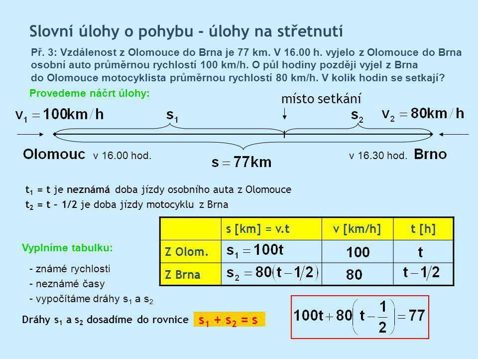 Slovní úlohy o pohybu - úlohy na střetnutí Př.3: Vzdálenost z Olomouce do Brna je 77 km.