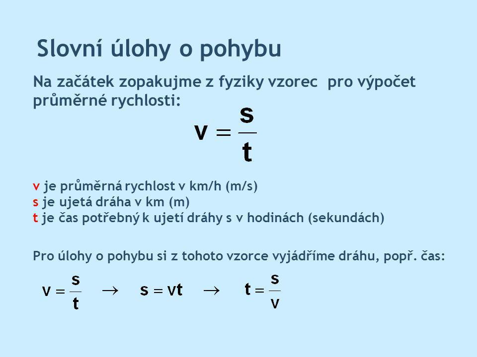 Slovní úlohy o pohybu Ve slovních úlohách o pohybu lze rozlišit dva základní typy příkladů: V čem se tyto dva příklady o pohybu liší.