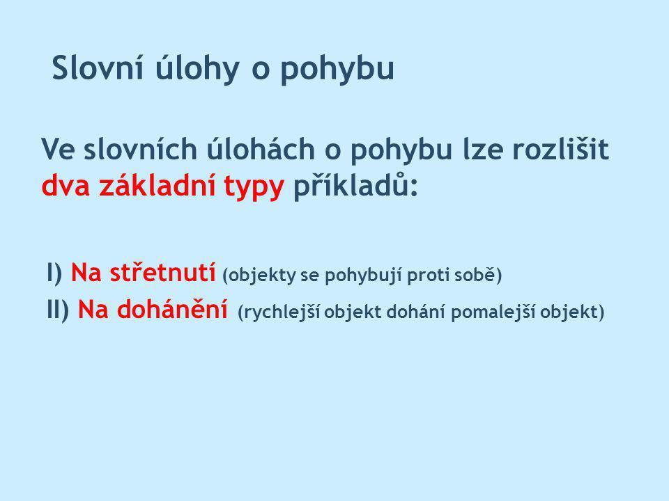 Slovní úlohy o pohybu Ve slovních úlohách o pohybu lze rozlišit dva základní typy příkladů: I) Na střetnutí (objekty se pohybují proti sobě) II) Na dohánění (rychlejší objekt dohání pomalejší objekt)