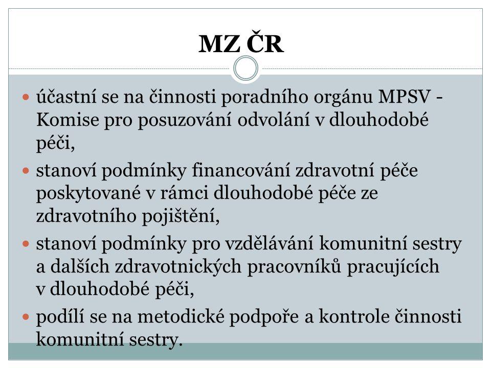 MZ ČR  účastní se na činnosti poradního orgánu MPSV - Komise pro posuzování odvolání v dlouhodobé péči,  stanoví podmínky financování zdravotní péče