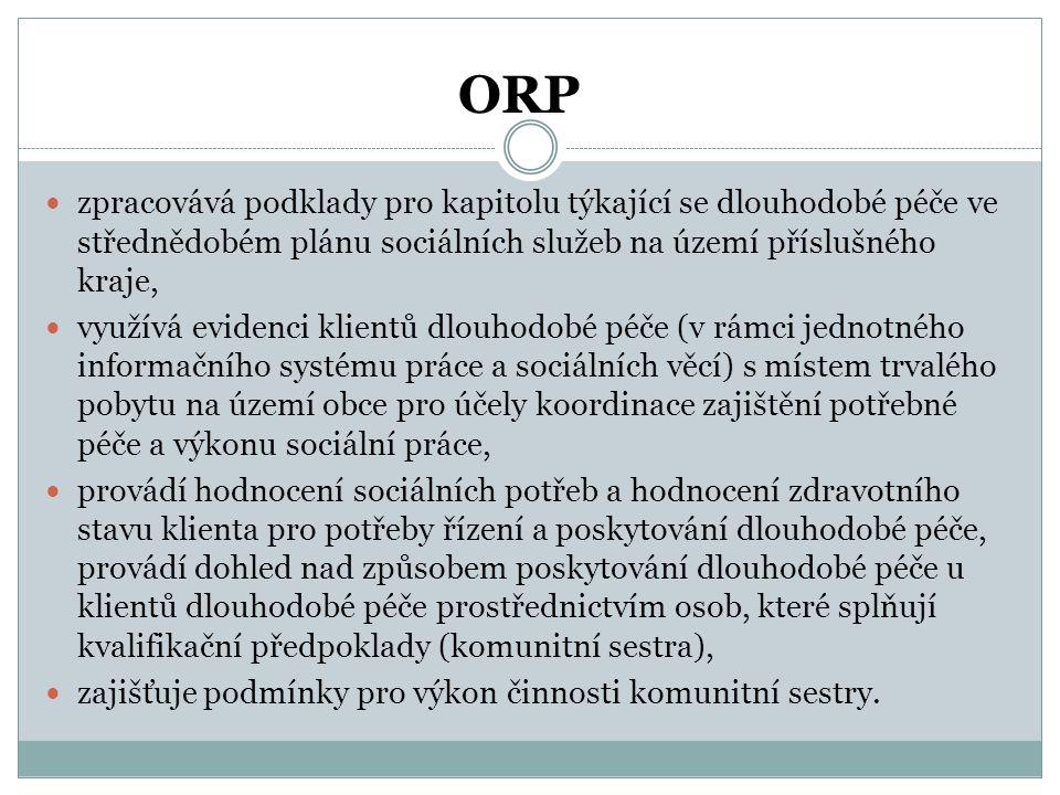 ORP  zpracovává podklady pro kapitolu týkající se dlouhodobé péče ve střednědobém plánu sociálních služeb na území příslušného kraje,  využívá evide