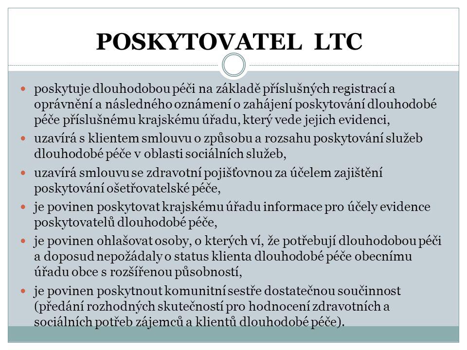 POSKYTOVATEL LTC  poskytuje dlouhodobou péči na základě příslušných registrací a oprávnění a následného oznámení o zahájení poskytování dlouhodobé pé