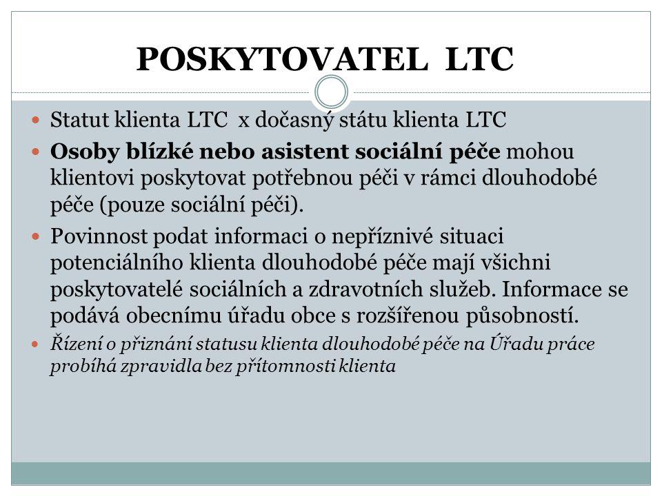 POSKYTOVATEL LTC  Statut klienta LTC x dočasný státu klienta LTC  Osoby blízké nebo asistent sociální péče mohou klientovi poskytovat potřebnou péči