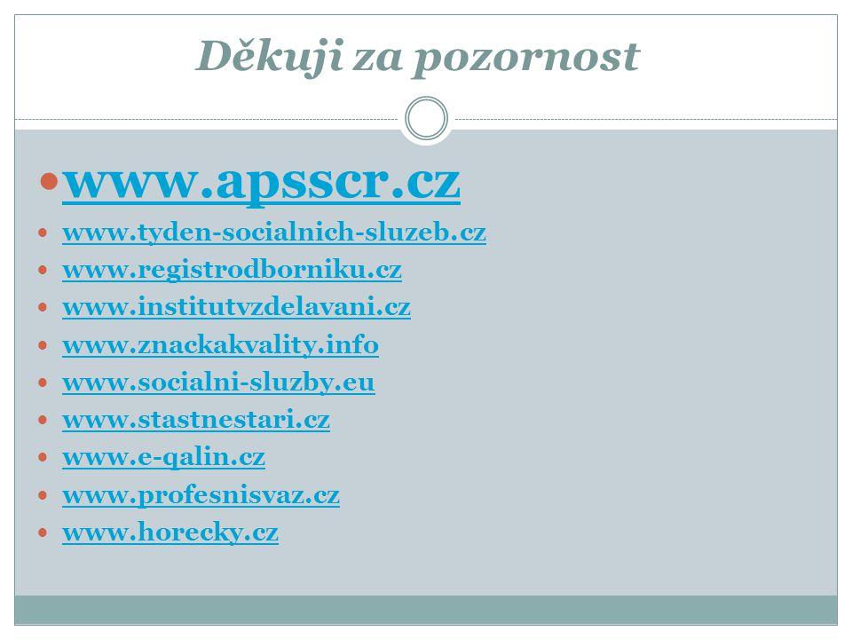 Děkuji za pozornost  www.apsscr.cz www.apsscr.cz  www.tyden-socialnich-sluzeb.cz www.tyden-socialnich-sluzeb.cz  www.registrodborniku.cz www.regist