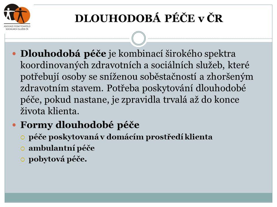 DLOUHODOBÁ PÉČE v ČR  Dlouhodobá péče je kombinací širokého spektra koordinovaných zdravotních a sociálních služeb, které potřebují osoby se sníženou