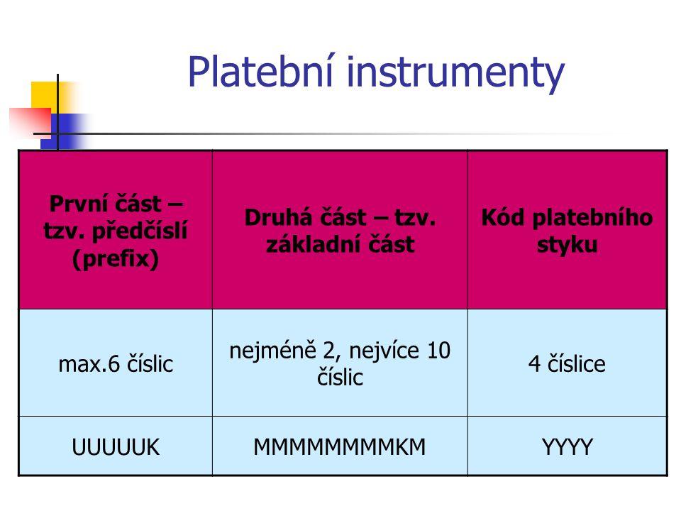 Platební instrumenty První část – tzv.předčíslí (prefix) Druhá část – tzv.