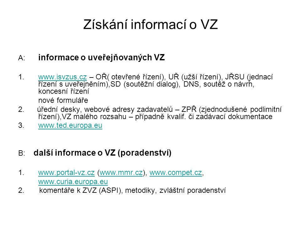 Získání informací o VZ A: informace o uveřejňovaných VZ 1.www.isvzus.cz – OŘ( otevřené řízení), UŘ (užší řízení), JŘSU (jednací řízení s uveřejněním),SD (soutěžní dialog), DNS, soutěž o návrh, koncesní řízeníwww.isvzus.cz nové formuláře 2.