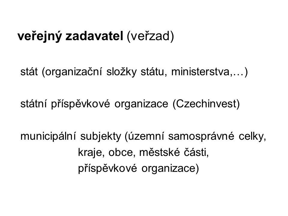veřejný zadavatel (veřzad) stát (organizační složky státu, ministerstva,…) státní příspěvkové organizace (Czechinvest) municipální subjekty (územní samosprávné celky, kraje, obce, městské části, příspěvkové organizace)