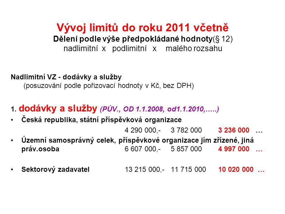 Vývoj limitů do roku 2011 včetně Dělení podle výše předpokládané hodnoty(§ 12) nadlimitní x podlimitní x malého rozsahu Nadlimitní VZ - dodávky a služby (posuzování podle pořizovací hodnoty v Kč, bez DPH) 1.