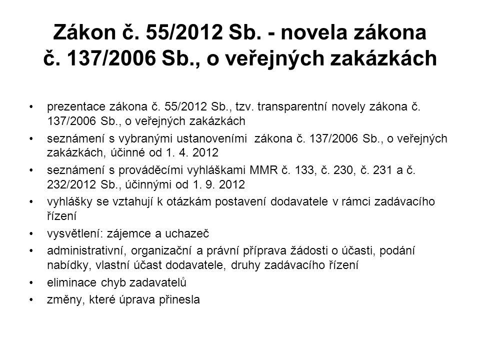 Zákon č. 55/2012 Sb. - novela zákona č. 137/2006 Sb., o veřejných zakázkách •prezentace zákona č. 55/2012 Sb., tzv. transparentní novely zákona č. 137