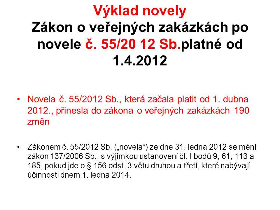 Výklad novely Zákon o veřejných zakázkách po novele č. 55/20 12 Sb.platné od 1.4.2012 •Novela č. 55/2012 Sb., která začala platit od 1. dubna 2012., p