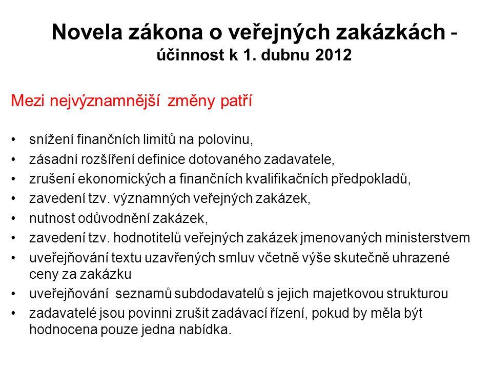 Novela zákona o veřejných zakázkách - účinnost k 1. dubnu 2012 Mezi nejvýznamnější změny patří •snížení finančních limitů na polovinu, •zásadní rozšíř