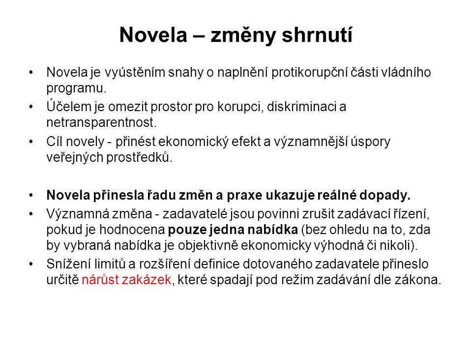 Novela – změny shrnutí •Novela je vyústěním snahy o naplnění protikorupční části vládního programu. •Účelem je omezit prostor pro korupci, diskriminac