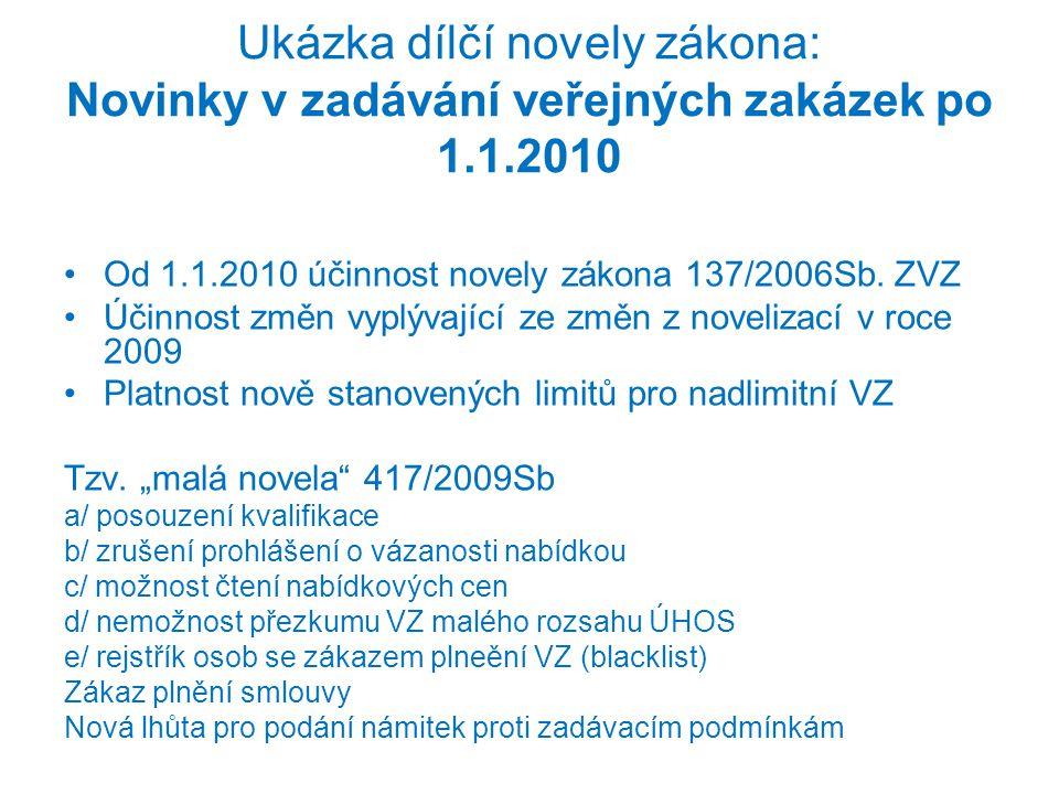 Ukázka dílčí novely zákona: Novinky v zadávání veřejných zakázek po 1.1.2010 •Od 1.1.2010 účinnost novely zákona 137/2006Sb. ZVZ •Účinnost změn vyplýv