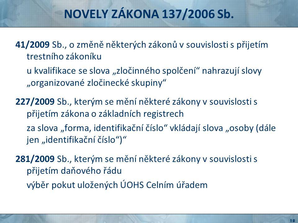 NOVELY ZÁKONA 137/2006 Sb.417/2009 Sb.