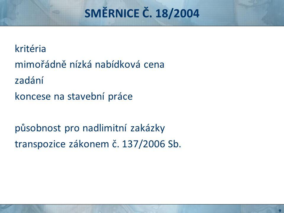 SMĚRNICE Č.17/2004 tzv. sektorová směrnice směrnice Evropského parlamentu a Rady č.