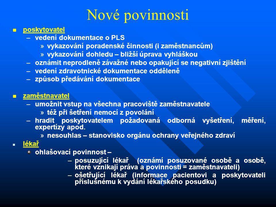 Nové povinnosti   poskytovatel – –vedení dokumentace o PLS » »vykazování poradenské činnosti (i zaměstnancům) » »vykazování dohledu – bližší úprava