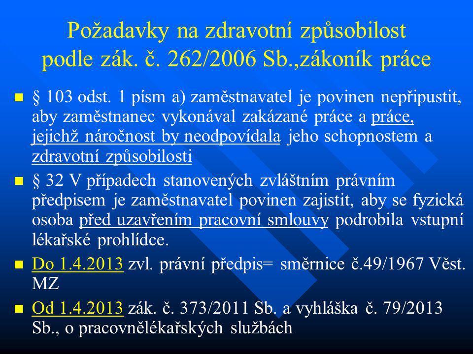 Požadavky na zdravotní způsobilost podle zák. č. 262/2006 Sb.,zákoník práce   § 103 odst. 1 písm a) zaměstnavatel je povinen nepřipustit, aby zaměst