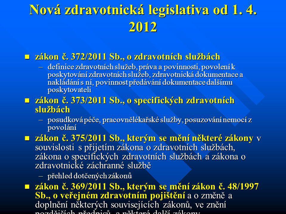 Nová zdravotnická legislativa od 1. 4. 2012  zákon č. 372/2011 Sb., o zdravotních službách –definice zdravotních služeb, práva a povinnosti, povolení