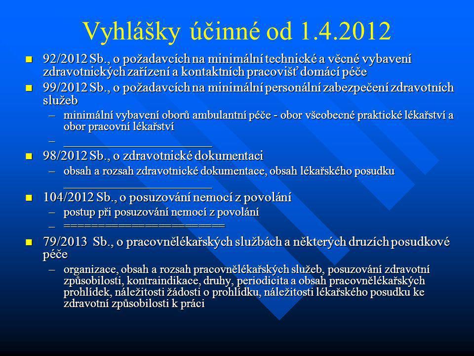 Vyhlášky účinné od 1.4.2012  92/2012 Sb., o požadavcích na minimální technické a věcné vybavení zdravotnických zařízení a kontaktních pracovišť domác