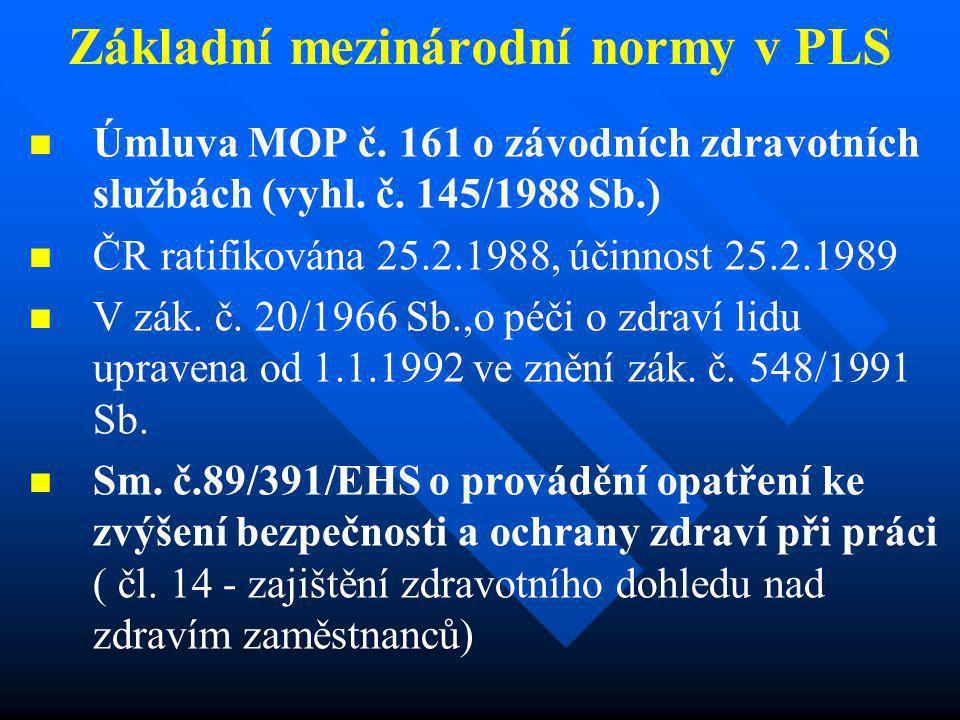 Základní mezinárodní normy v PLS   Úmluva MOP č. 161 o závodních zdravotních službách (vyhl. č. 145/1988 Sb.)   ČR ratifikována 25.2.1988, účinnos