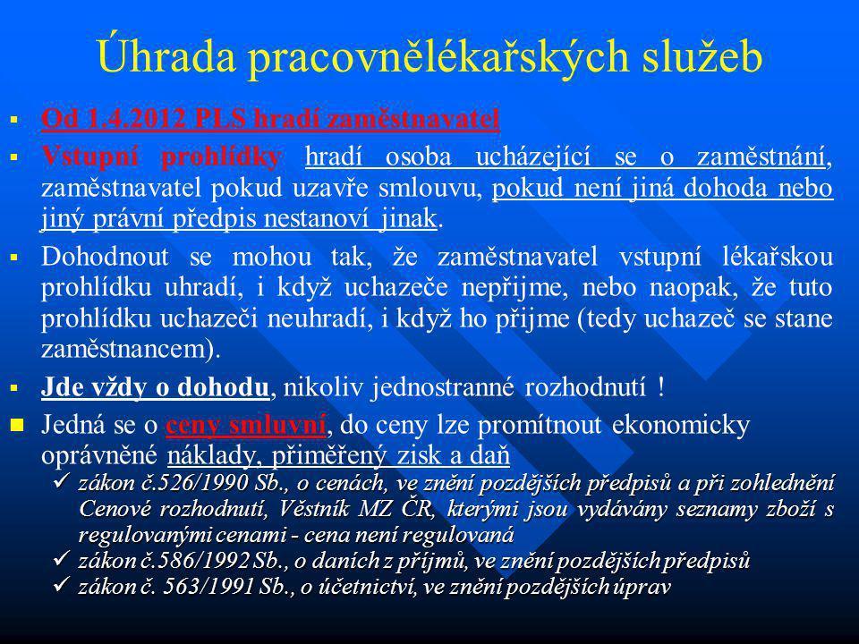 Úhrada pracovnělékařských služeb   Od 1.4.2012 PLS hradí zaměstnavatel   Vstupní prohlídky hradí osoba ucházející se o zaměstnání, zaměstnavatel p
