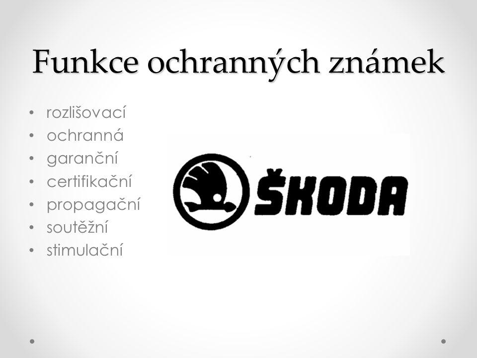 Funkce ochranných známek • rozlišovací • ochranná • garanční • certifikační • propagační • soutěžní • stimulační
