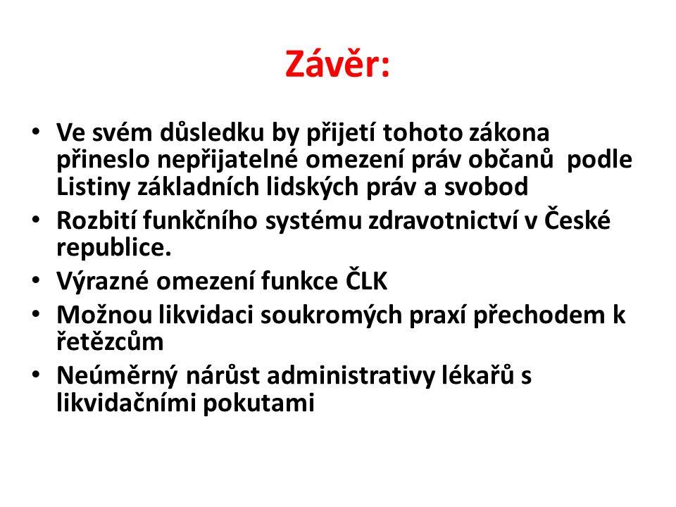Závěr: • Ve svém důsledku by přijetí tohoto zákona přineslo nepřijatelné omezení práv občanů podle Listiny základních lidských práv a svobod • Rozbití funkčního systému zdravotnictví v České republice.