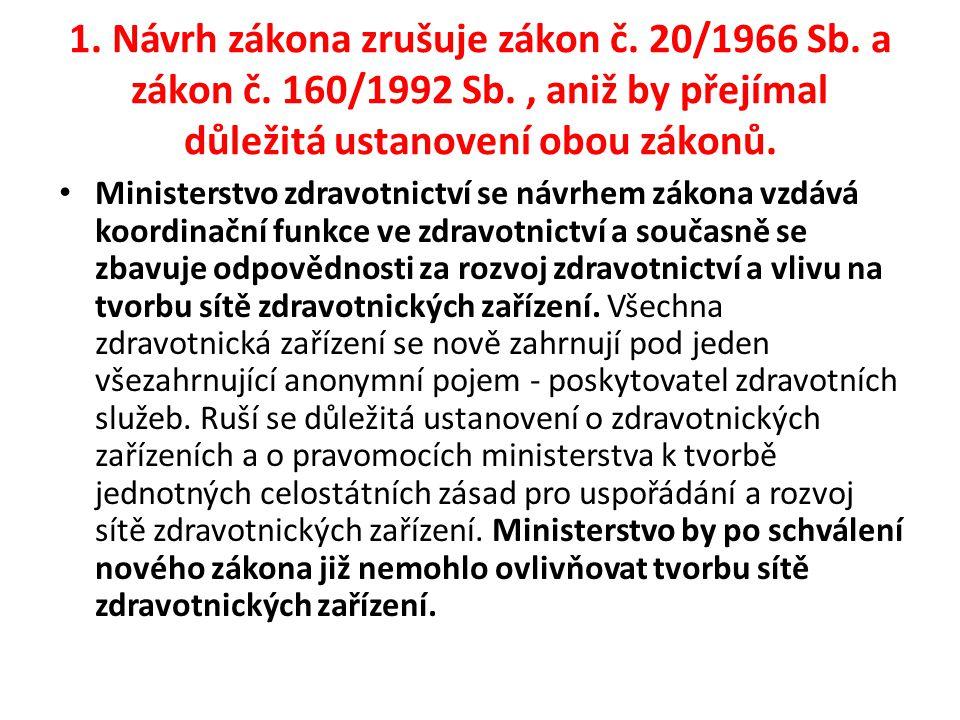 1.Návrh zákona zrušuje zákon č. 20/1966 Sb. a zákon č.