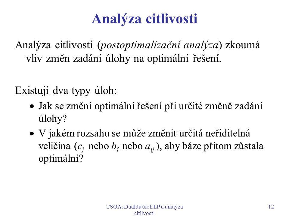 TSOA: Dualita úloh LP a analýza citlivosti 12 Analýza citlivosti Analýza citlivosti (postoptimalizační analýza) zkoumá vliv změn zadání úlohy na optim