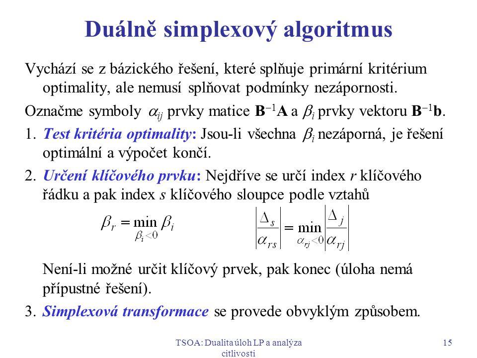 TSOA: Dualita úloh LP a analýza citlivosti 15 Duálně simplexový algoritmus Vychází se z bázického řešení, které splňuje primární kritérium optimality,