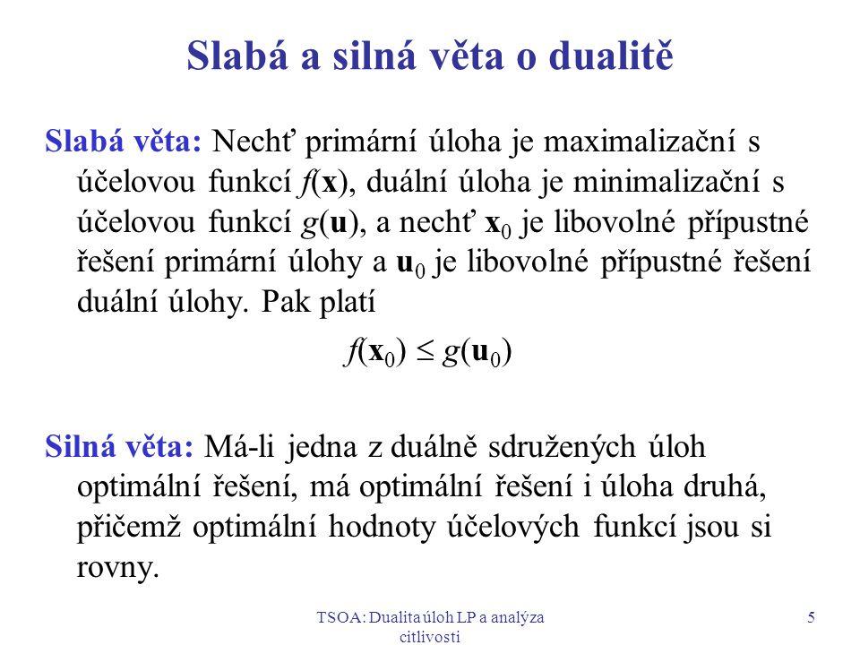 TSOA: Dualita úloh LP a analýza citlivosti 6 Důsledky vět o dualitě  Platí-li pro přípustné řešení x 0 primární úlohy a pro přípustné řešení u 0 duální úlohy rovnost f(x 0 ) = g(u 0 ), pak x 0 a u 0 jsou optimální řešení.