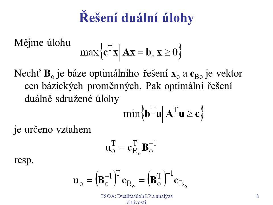 TSOA: Dualita úloh LP a analýza citlivosti 9 Řešení duální úlohy pro úlohu s nerovnicemi typu  Mějme úlohu Standardní tvar: Maticový tvar simplexové tabulky pro optimální bázi B: Vidíme, že optimální hodnoty duálních proměnných se nacházejí v posledním řádku tabulky ve sloupcích doplňkových proměnných.