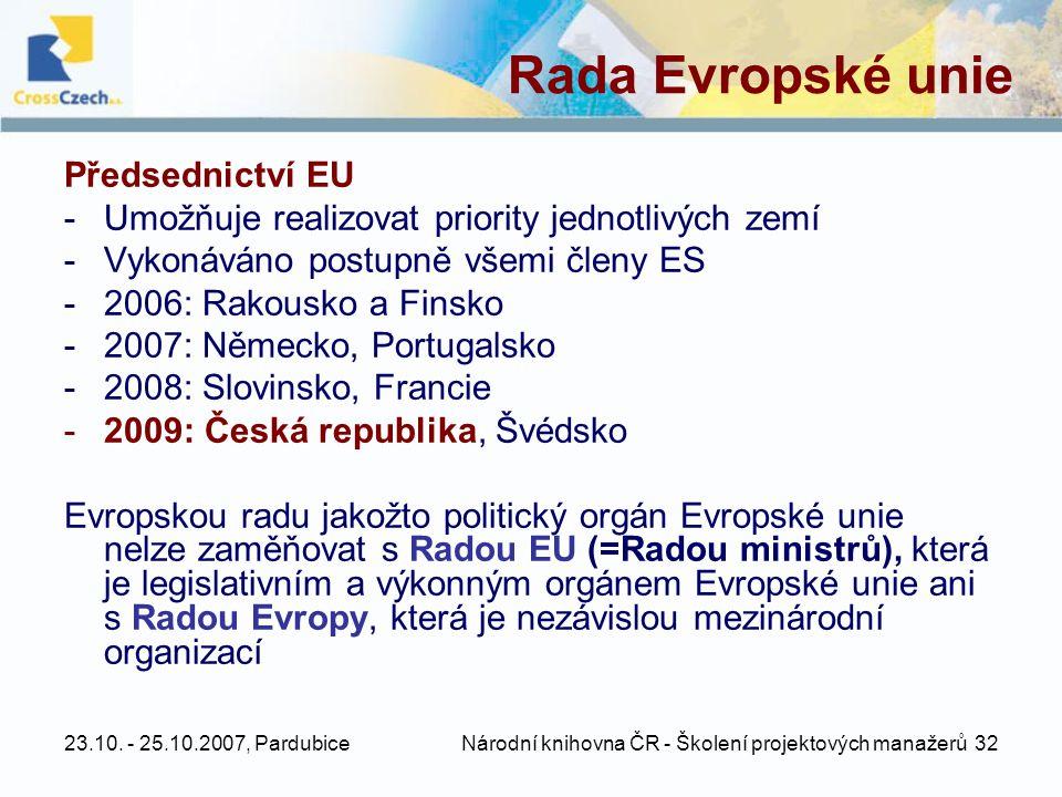 23.10. - 25.10.2007, Pardubice Národní knihovna ČR - Školení projektových manažerů 32 Rada Evropské unie Předsednictví EU -Umožňuje realizovat priorit
