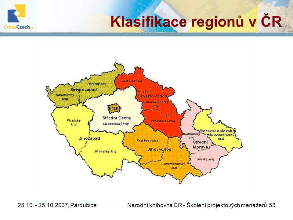23.10. - 25.10.2007, Pardubice Národní knihovna ČR - Školení projektových manažerů 53 Klasifikace regionů v ČR